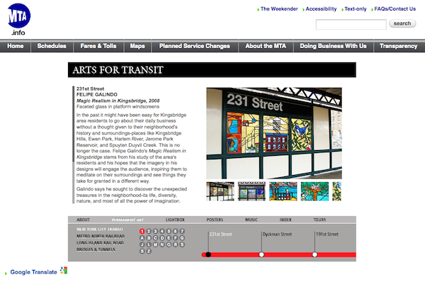 The MTA currently features arts listings on its web site, but it's impossible to access the data underground.