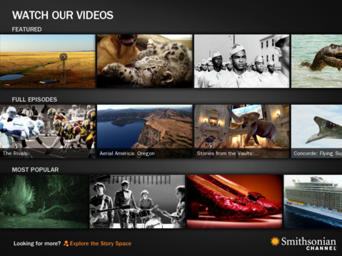 The Smithsonian Channel's iPad app features a smooth, swipe and tap interface to quickly browse through different video options. Image via iTunes App Store.