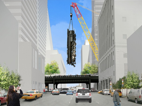 """Design rendering of Jeff Koons's """"Train"""" at the High Line"""