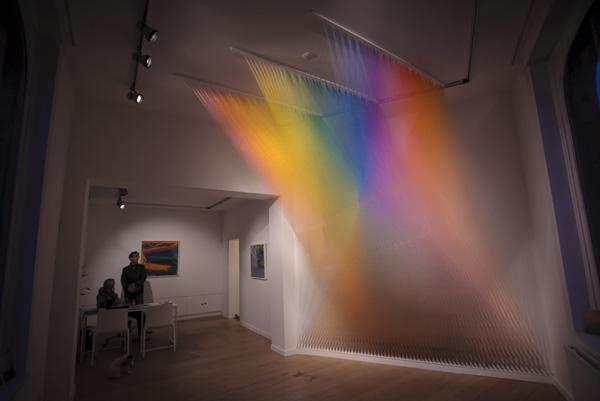 An installion view of Gabriel Dawes's Plexus installation at Lot 10 gallery.