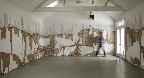 Brooklyn artist Laurie Frick turned her studio residency at Yaddo into an installation entitled Walking Through Cardboard. Image courtesy Laurie Frick.