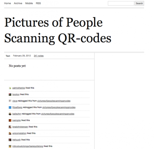 A screenshot of picturesofpeoplescanningqrcodes.tumblr.com.