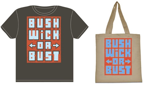 Bushwick or Bust T-shirt and tote by Skewville, image courtesy of The BushwickBK