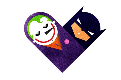 "Dan Matutina's ""The Joke & The Bat"" is part of his Versus/Hearts series on Tumblr. Image via versushearts.tumblr.com."
