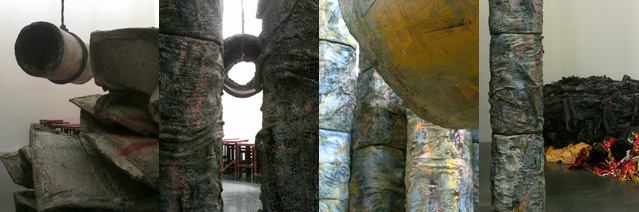 "Four installation views of Phyllida Barlow's ""siege"""
