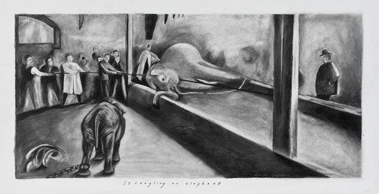 "Sue Coe, ""Strangling an Elephant"""