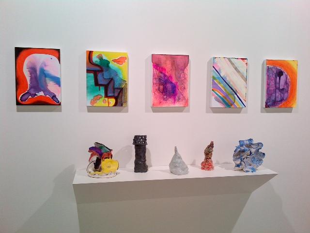 Joanne Greenbaum's ceramics and paintings in her studio
