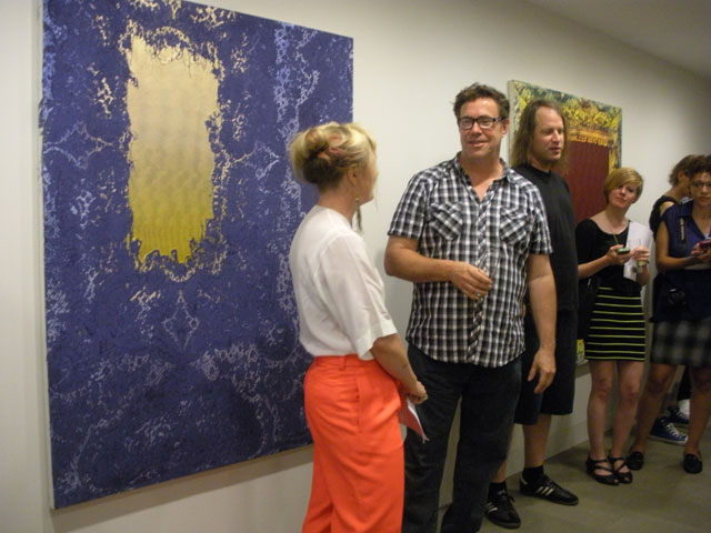 Flood talking to curator Alison Gingeras
