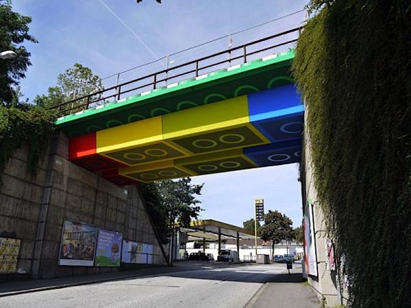 Street artist Megx's Lego-painted bridge