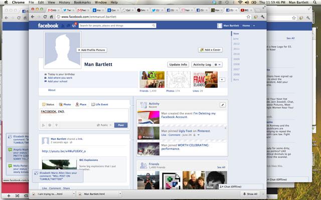 The last few seconds of Man's Facebook account