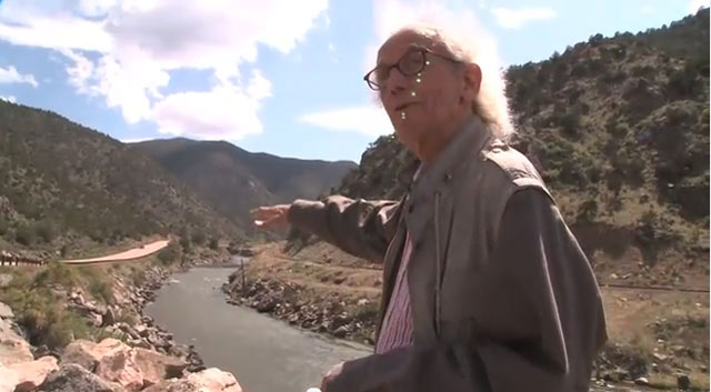 """Christo at the """"Over the River"""" site in 2010"""