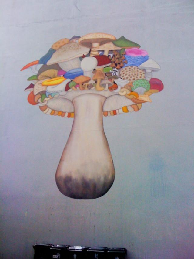 The biggest and trippiest magic mushroom graffiti.