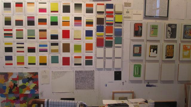 A wall in Richard Baker's studio
