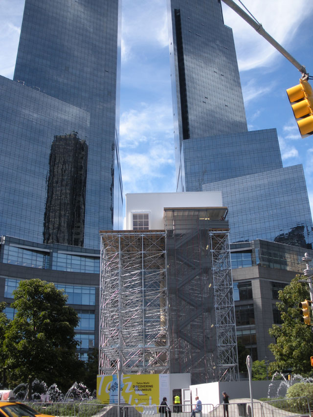 "A view of ""Discovering Columbus"" in Columbus Circle"