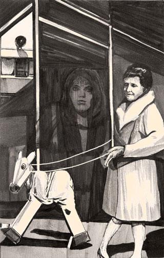 "Hugo Crosthwaite, ""Woman Walking a Rocking Horse"""