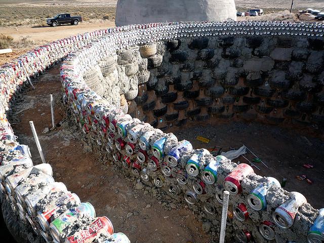 An earthship bottle wall
