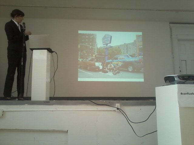 Artist Naomi Miller presenting her work