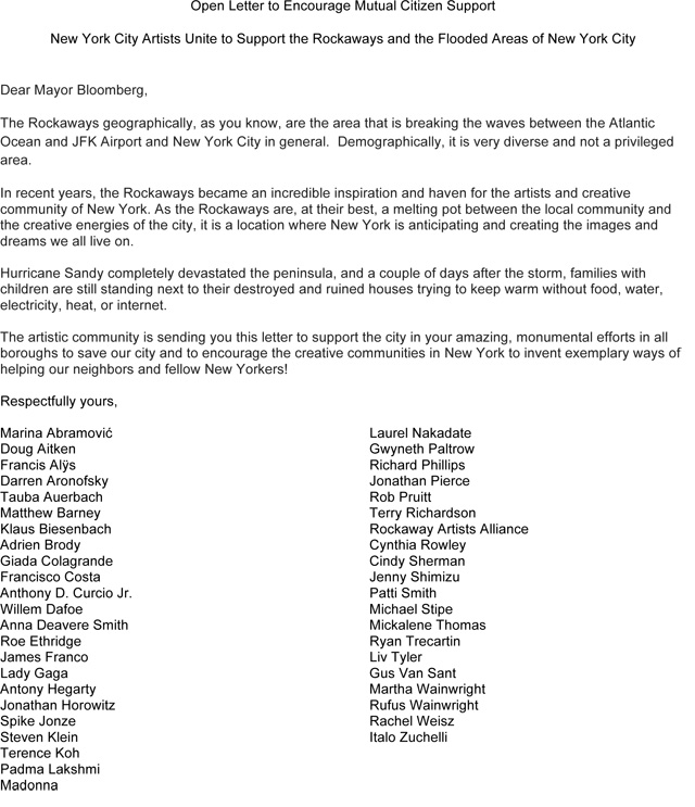 Art Music Film Celebrities Write A Letter To Mayor Bloomberg About