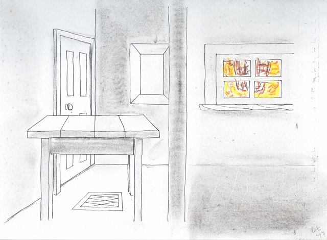 """Richard Artschwager, """"Six Objects"""" (1997), charcoal and oil pastel on photocopy, 8 1/2 x 11 inches"""