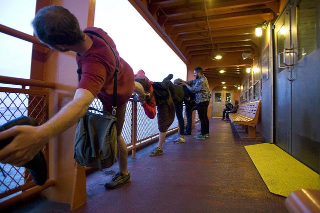 Miguel Gutierrez working with participants on his second Sensewalk. (He led four.) (image via Flickr/Elastic City)