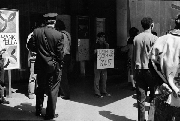 Members of the Black & Puerto Rican Emergency Cultural Coalition, the Guerrilla Art Action Group, and the Art Workers' Coalition, protesting at MoMA in 1970 (photo courtesy Mousse Magazine)