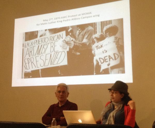 Marcos Dimas and Yasmin Ramírez speaking at El Taller Boricua, Dec. 12, 2012 (photo by the author)