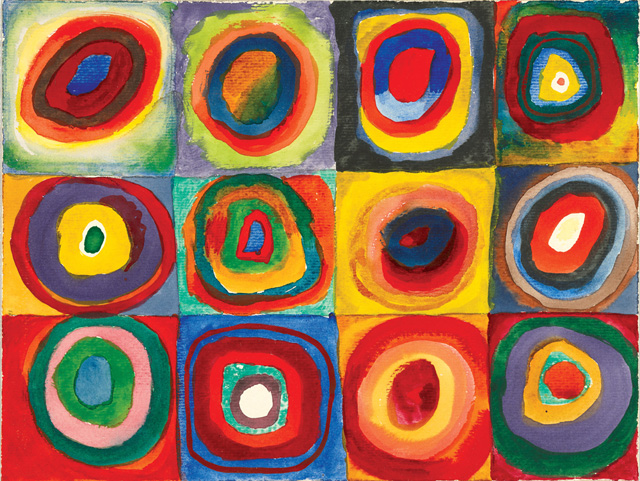 """Vasily Kandinsky. """"Farbstudie — Quadrate mit konzentrischen Ringen (Color study — squares with concentric rings)"""" (1913). Watercolor, gouache, and crayon on paper, 9 3⁄8 × 12 3⁄8 inches. Stadtische Galerie im Lenbachhaus, Munich. © 2012 Artists Rights Society (ARS), New York/ADAGP, Paris. Courtesy Städtische Galerie im Lenbachhaus, Munich."""