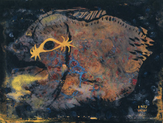 "Yayoi Kusama, ""Fish"" (1953) (© Yayoi Kusama, image courtesy Yayoi Kusama Studio Inc.; Ota Fine Arts, Tokyo; Victoria Miro Gallery, London; via whitney.org)"
