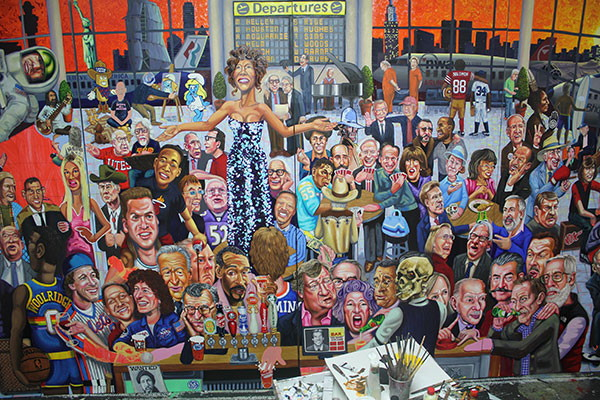 """Tom Sanford, """"Departures """"(Last Call)"""" (detail) in progress (2012), 96 x 192 inches, oil on panel (image via Bravin Lee)"""