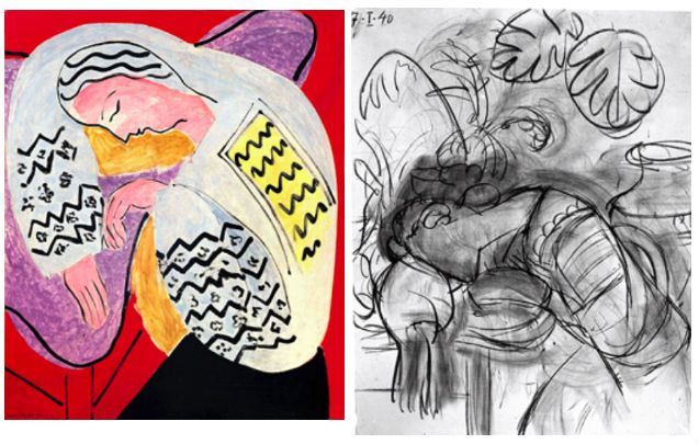 """Matisse, """"The Dream"""" (1940) and photographic reproduction of """"The Dream"""" in progress"""