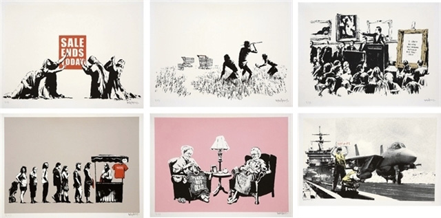 "Banksy, ""Barely Legal / LA Set"" (Portfolio of 6 Prints) (2006), screenprint on Arches paper, 22 x 29.9 in., Est. US$90,000-120,000"