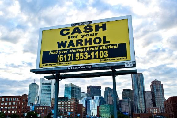 Cash for Your Warhol billboard (Image via wgbh.org)