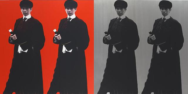 "Deborah Kass, ""Double Double Yentl (My Elvis)"" (1993),  silkscreen on canvas, 72 x 72 inches (image via Paul Kasmin Gallery)"