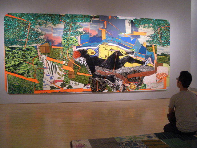 """Mickalene Thomas, """"Sleep: Deux femmes noires"""" (2012), rhinestone, acrylic paint, and oil enamel on wood panel, 108 x 240 x 2 inches (all photos by the author for Hyperallergic)"""