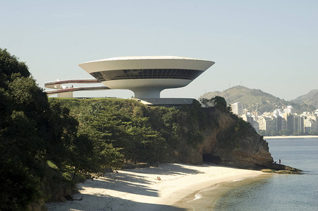 Oscar Niemeyer's Niterói Contemporary Art Museum in Rio de Janeiro, Brazil (Photo via architecture.about.com)