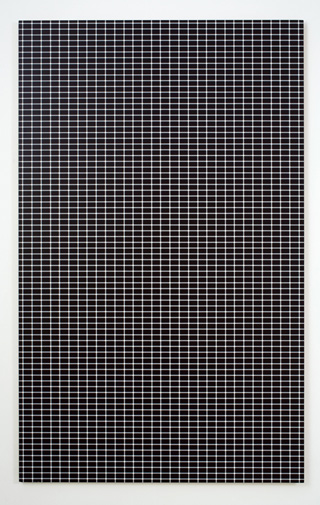 """R. H. Quaytman, """"iamb, Chapter 12 (lateral inhibitions in the perceptual field)"""" (2008), silkscreen ink, gesso on wood, 52 3/8 x 32 3/8 inches (courtesy Miguel Abreu Gallery)"""