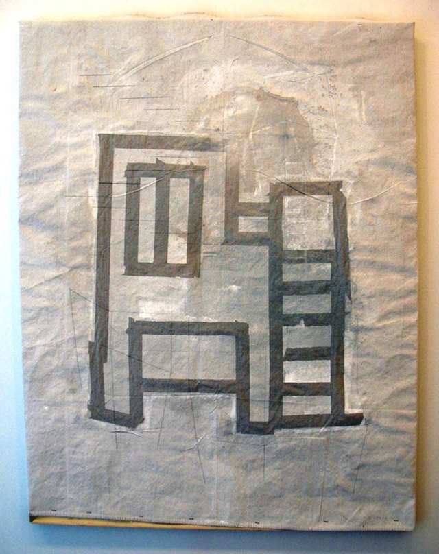 "Sharon Butler, ""Underpainted HVAC"" (2013). Gesso, metallic pigment and binder on linen tarp, 48 x 48 inches."