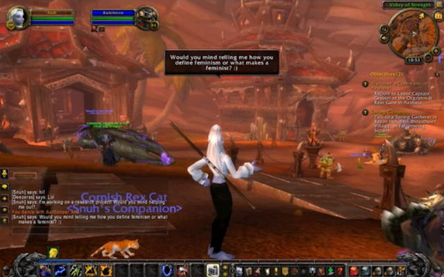 """Screen shot of Angela Washko's """"Chastity and The Council on Gender Sensitivity and Behavioral Awareness in World of Warcraft"""""""