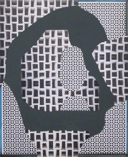 "Max Warsh, ""Green Island"" (2012), photographs and acrylic on wood panel, 24 x 20 inches (image via Toomer Labzda)"