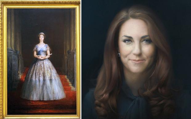 Left, John Napper's portrait of Queen Elizabeth II (1956) (Telegraph) and right, Catherine, Duchess of Cambridge, official portrait by artist Paul Emsley. (Photograph: NPG/Rex Features)