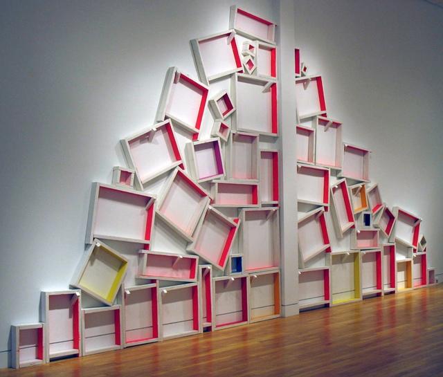"""Cordy Ryman, """"Windowboxing"""" (detail) (2010/2013). Acrylic and enamel on wood."""