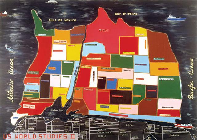 """Jules de Balincourt, """"U.S World Studies II"""" (2005) (Image via Saatchi Gallery)"""