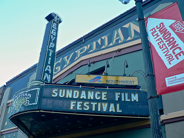 The marquee of the Egyptian Theater in Park City (all photos by the author of Hyperallergic)
