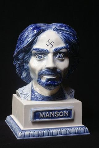 """A porcelain statue from Krafft's """"Pitchfork Pals"""" series"""