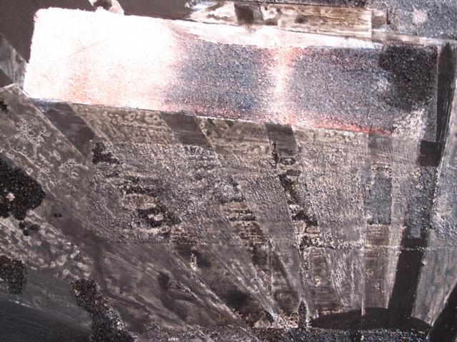 "Rosy Keyser, ""Pyre"" (2011 (detail), dye, enamel, spray paint, and sawdust on canvas, 85 x 66 in."