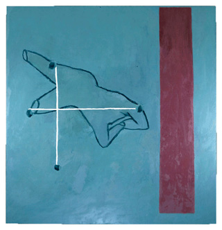 """Julian Schnabel, """"Against Modernism (What to Do with a Corner in Madrid)"""" (1979), oil and wax on canvas, 96 x 96 in. (image via julianschnabel.com)"""