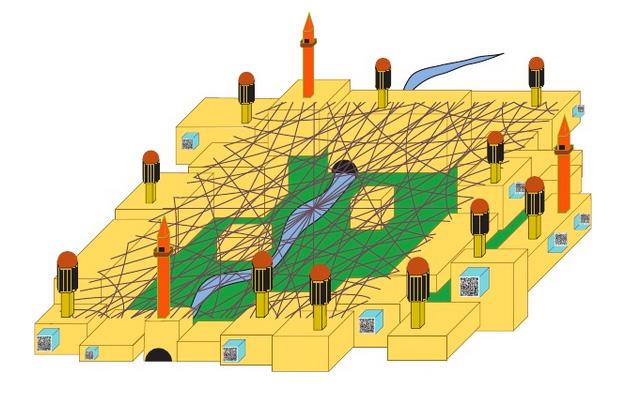 A rendering of AJ Kohn's anti-drone Shura City (image via scribd.com)