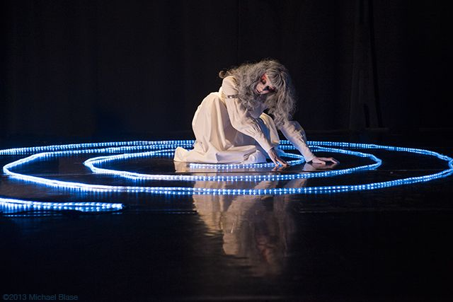 The Closing of Vangeline's performance inside the labyrinth. Photo by Michael Blase