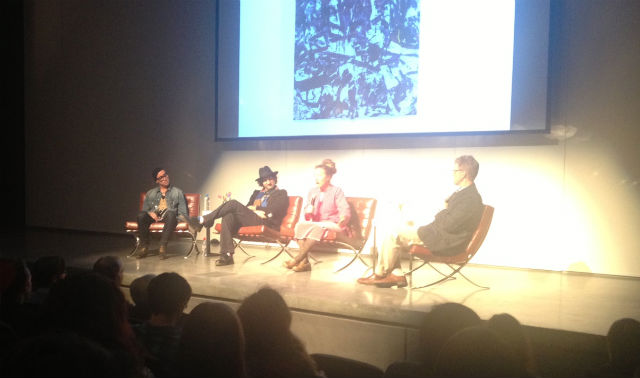 SCAD panel; from left to right, artists Angel Otero, Marcus Kenney, and Ingrid Calame (Photo by author)