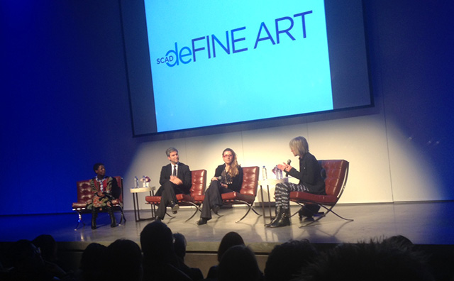 The SCAD museum directors' panel; from left to right: Thelma Golden, Michael Govan, Defne Ayas, Linda Yablonsky (Photo by author)